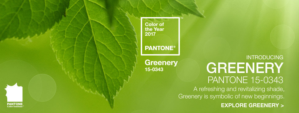 The Pantone color of the year for 2017 is Greenery.