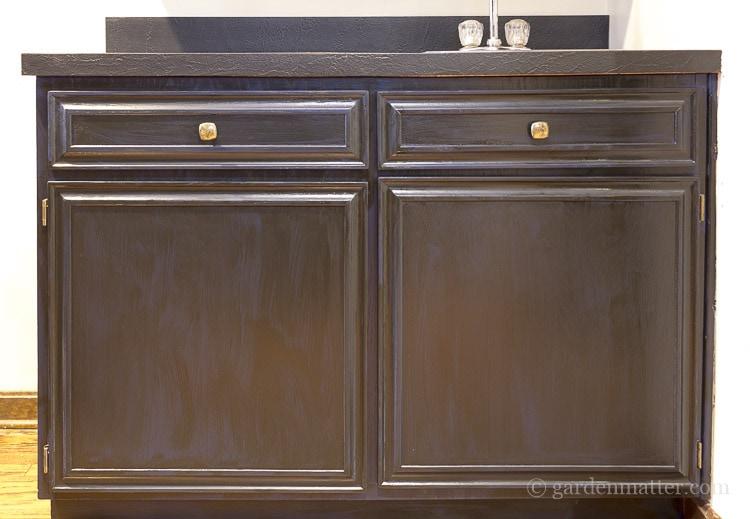 Bottom oak cabinet painted and glazed