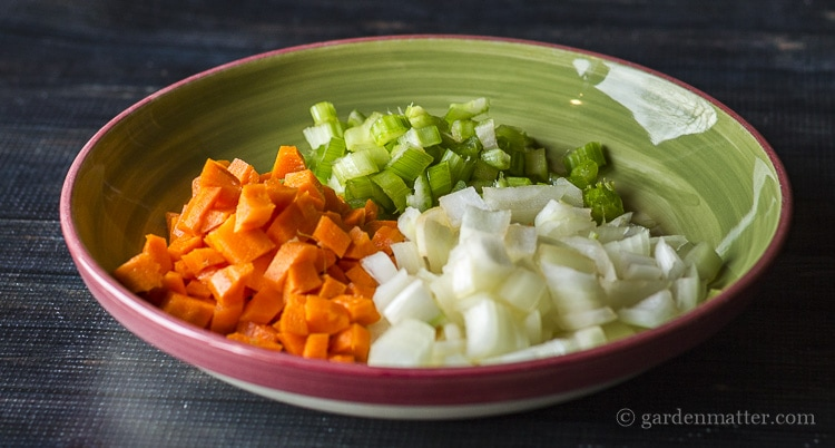 The base trinity for soups, carrots, celery and onions