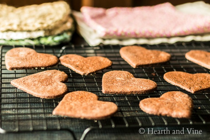 Chocolate heart cookies cooling