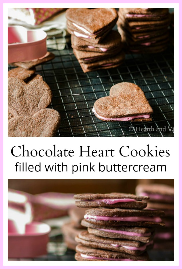 Chocolate heart sandwich cookies with buttercream filling