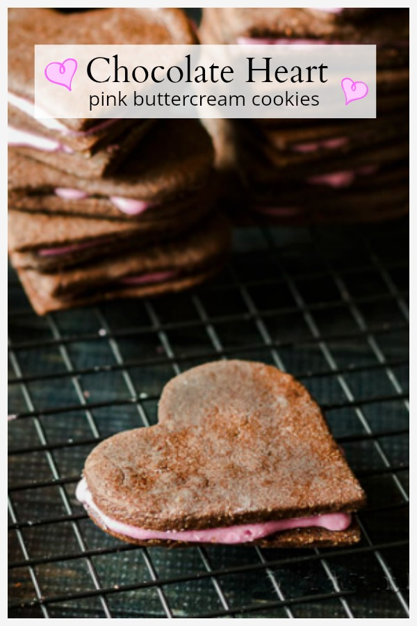 Chocolate Heart Pink Buttercream cookies