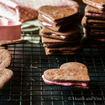 Chocolate heart shaped pink butter cream cookies