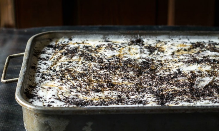 ice cream cake in pan