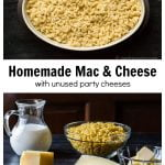 Mac and cheese platter over a group of cheese blocks, milk, butter and elbow macaroni