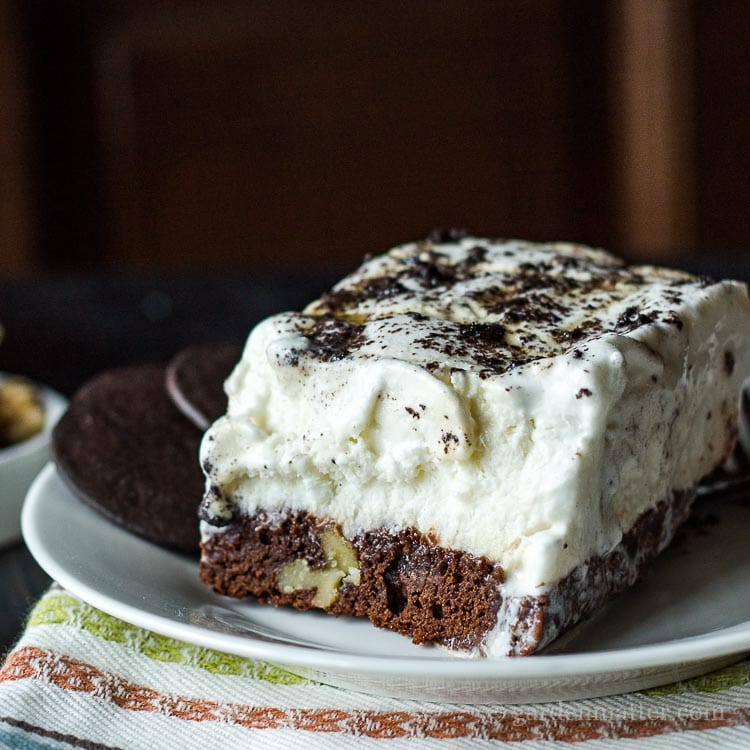 This recipe for an ice cream brownie cake is so easy you can make it ahead and have plenty of time for your other tasks.