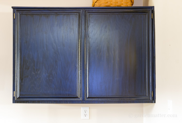 Painting Oak Cabinets With Blue Paint And Black Glaze