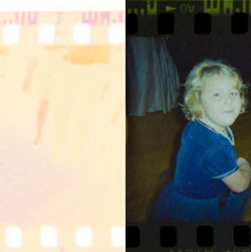 Gabby before and after digitized negative picture.