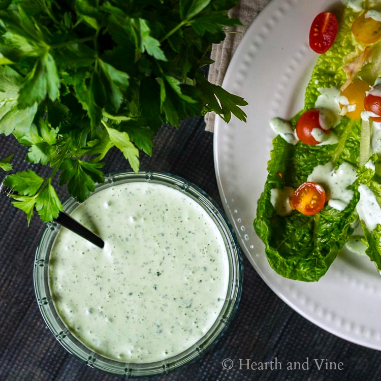 bowl of green goddess dressing
