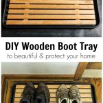 Two images. Top is an empty wooden boot tray and the bottom is the same tray with 2 sets of boots on it.