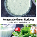 Bowl of green goddess dressing over a salad with the dressing on it.