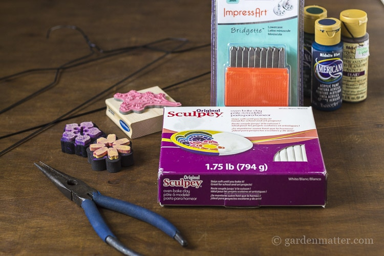 Materials for making garden charms.