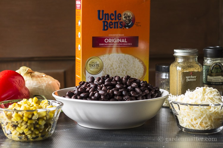 Ingredients for southwest rice and beans dish.
