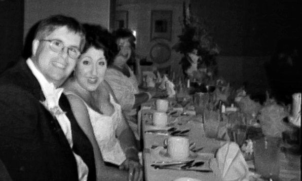 Denise and Rick wedding reception in black and white