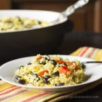Southwest rice and black bean casserole with jalapeno peppers and Mexican cheese.