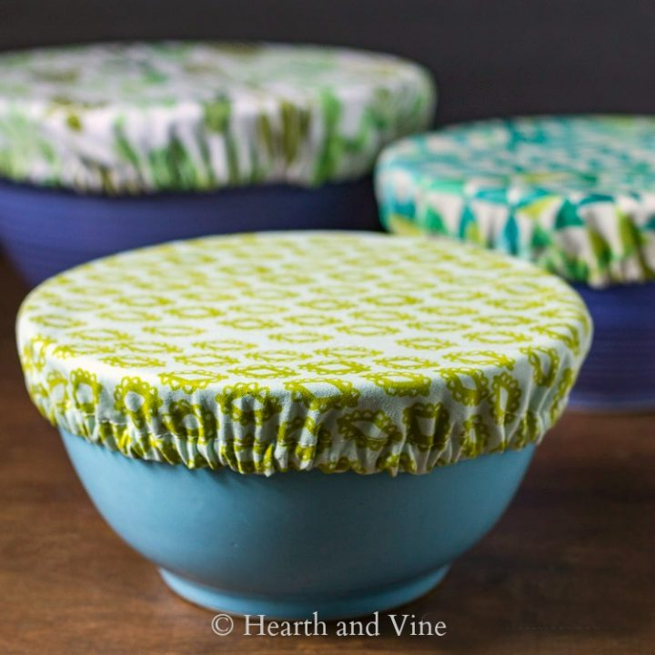 Fabric bowl covers in 3 prints