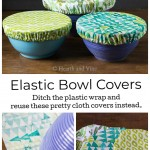 Fabric bowl covers over a bowl traced onto fabric and three cloth food covers on the bottom.