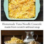 Baked tuna noodle casserole and image of the ingredients.