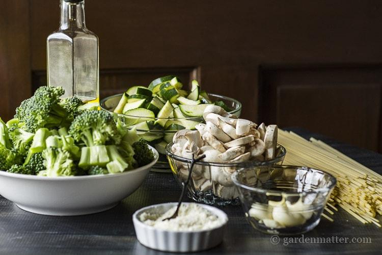 Ingredients for vegetarian pasta primavera dish