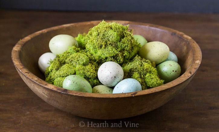 bowl of moss balls and eggs