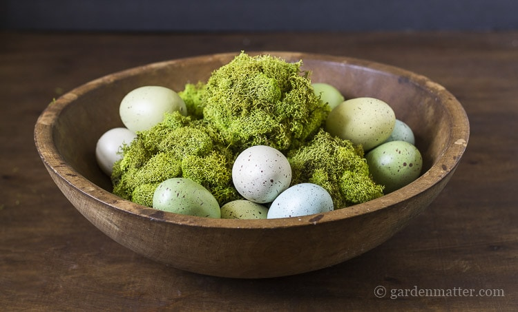 Reindeer moss balls with Easter eggs in bowl