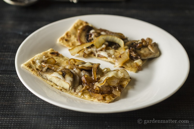 Mushroom and Caramelized Onion Flatbread with Fontina cheese.