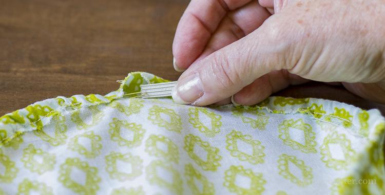 Thread elastic through fabric channel
