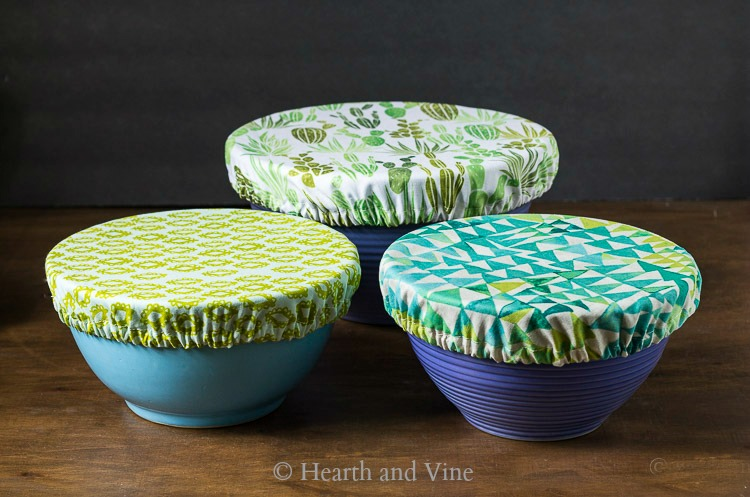 Trio of fabric bowl covers