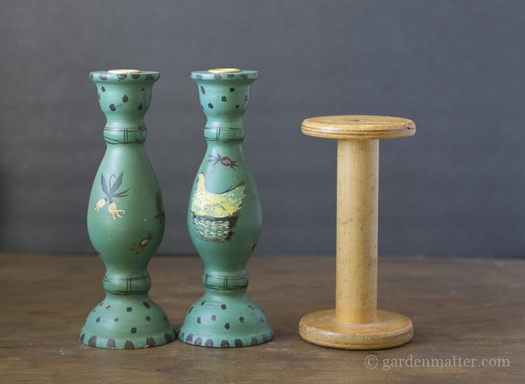 Thrift store finds to be transformed into a set of whimsical candlesticks.
