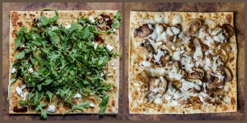 Be inspired by two different delicious veggie flatbread pizza recipes that you can serve at a party, lunch or light dinner.