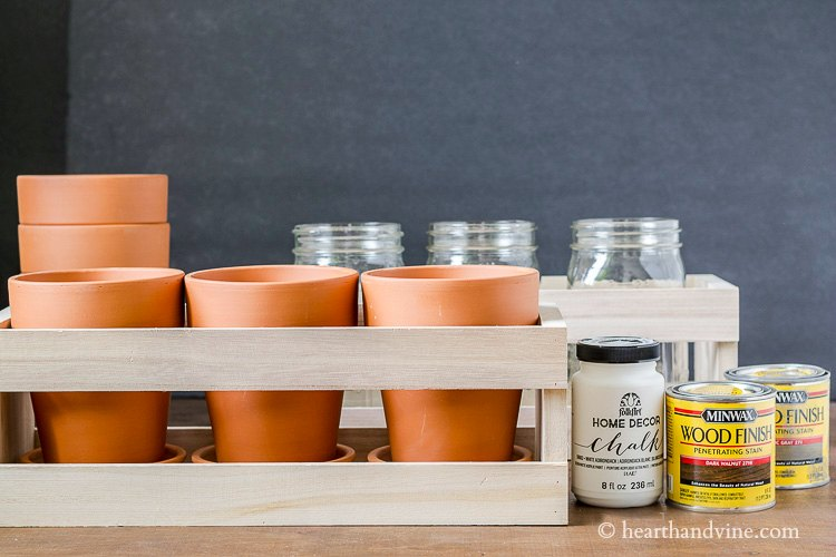 Clay pots, wood crates, stain and paint