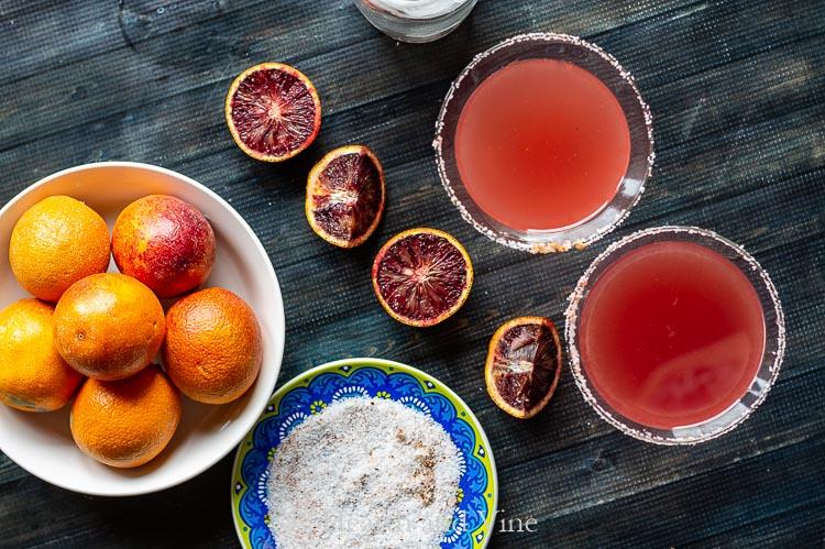 Blood oranges, two margaritas and salt