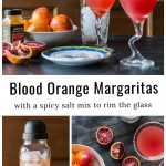 Three images. To is an image of two blood orange margaritas, bottom left a shaker with blood orange margarita mix and the right is an aerial view of blood oranges, salt and glasses.