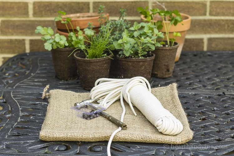 Materials for burlap herb garden tutorial.