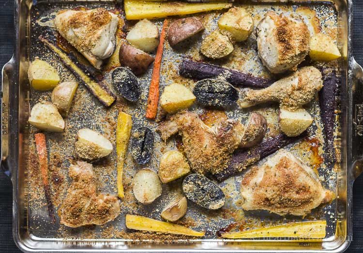 One pan baked chicken and vegetables.