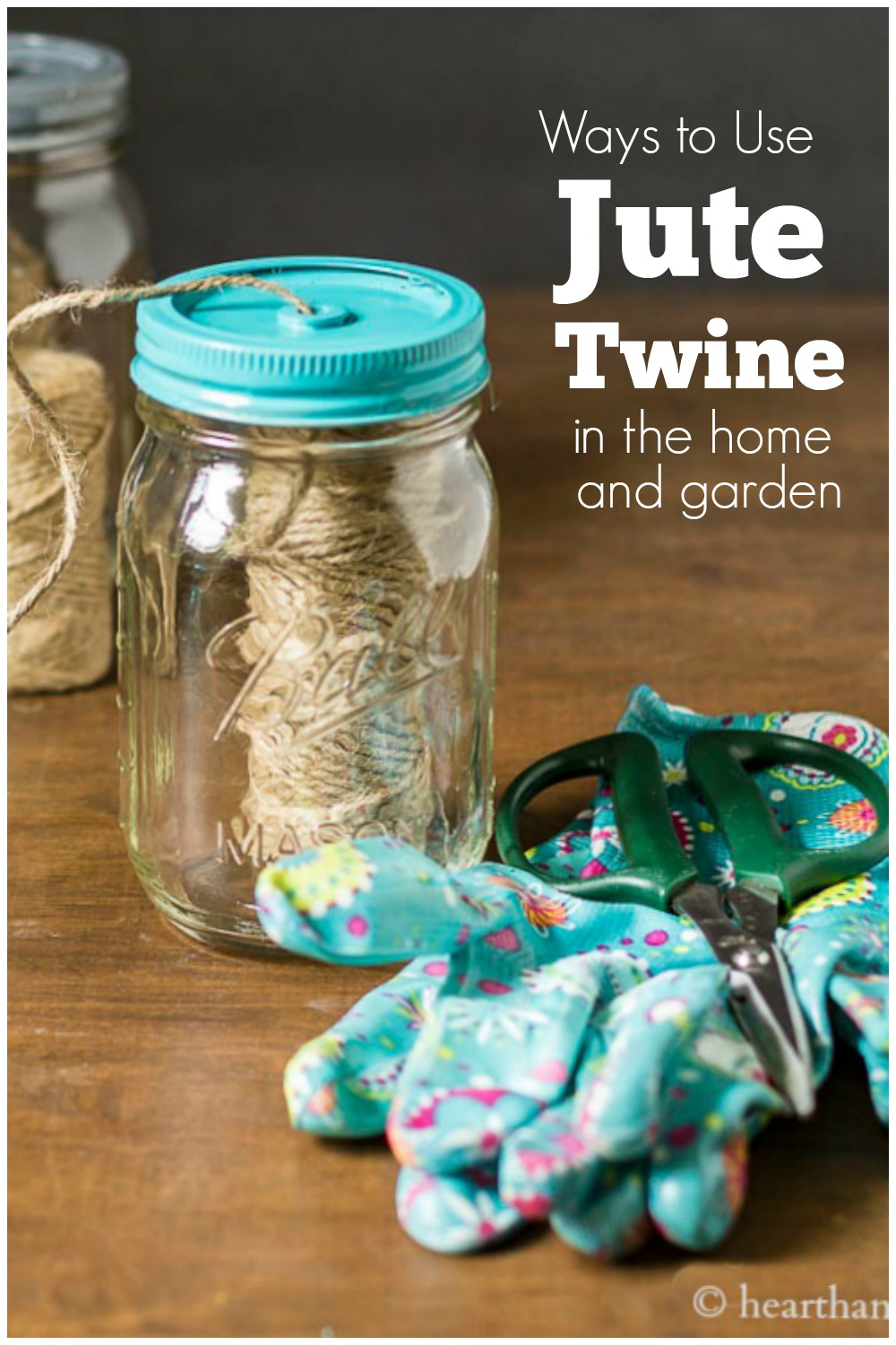 Just mason jar dispenser, garden gloves, scissors