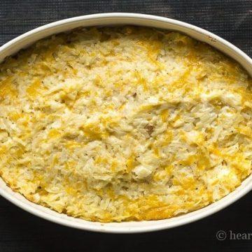 Cheesy hashbrown potato casserole.