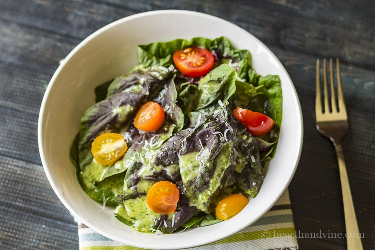 Salad dressed with cilantro lime dressing