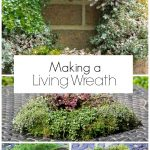 Collage of living wreath and steps