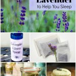 Collage of lavender projects, linen spray, lavender cookies bath salts and Hidcote lavender in garden.