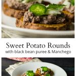 Close up and normal plate of sweet potato rounds