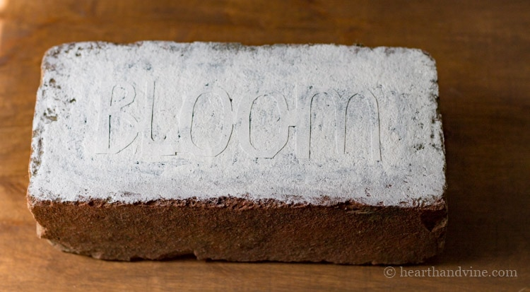 Brick with white paint on top of bloom.