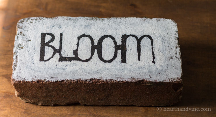 Final look of bloom brick word art.