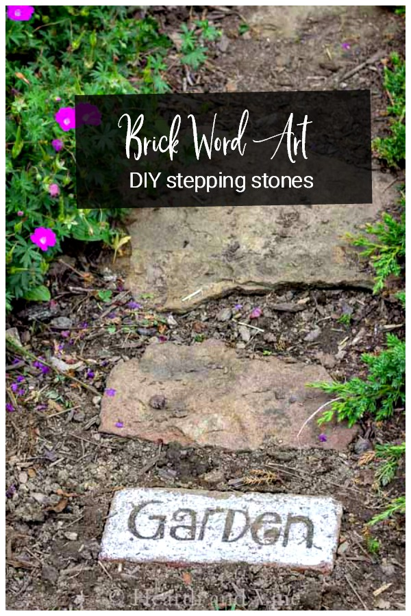 Brick word art stepping stones in garden