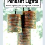 Three tin can pendant lights.
