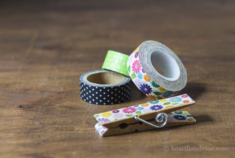 Using washi tape on clothespins.