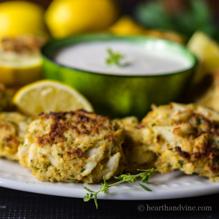 Mini crab cakes with creamy lemon thyme dip.