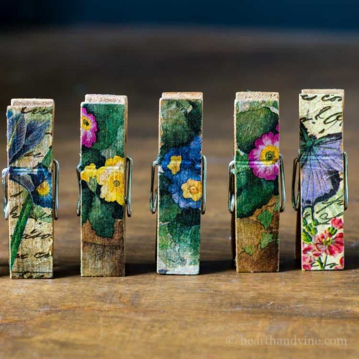 Colorful clothespin magnets