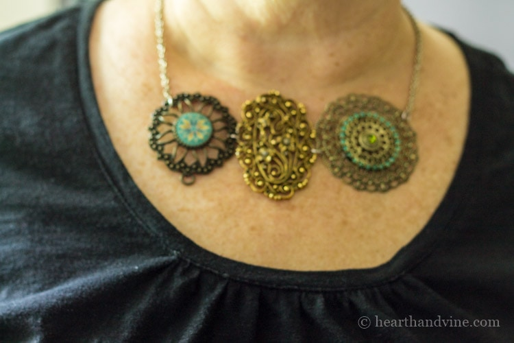 Wearing the statement necklace.
