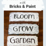 Three bricks painted white with black words bloom, grow and garden